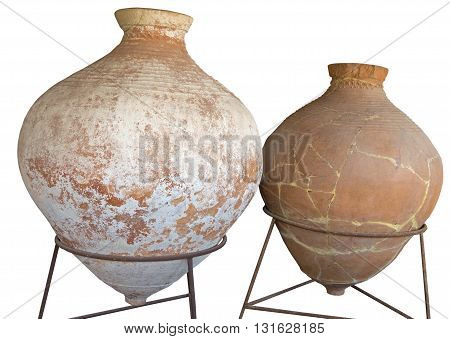 the Ancient greek amphora over white background