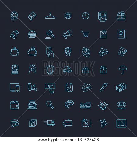 Thin lines web icons set - E-commerce, shopping