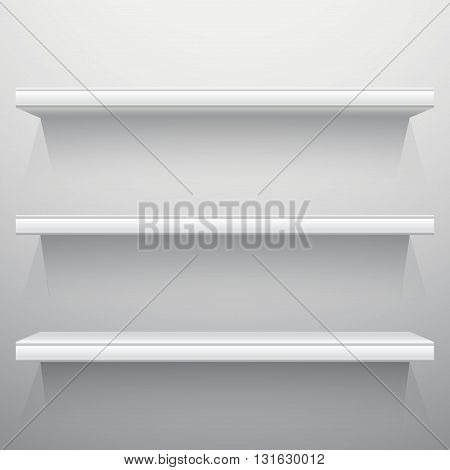 White background shelves with light from the top
