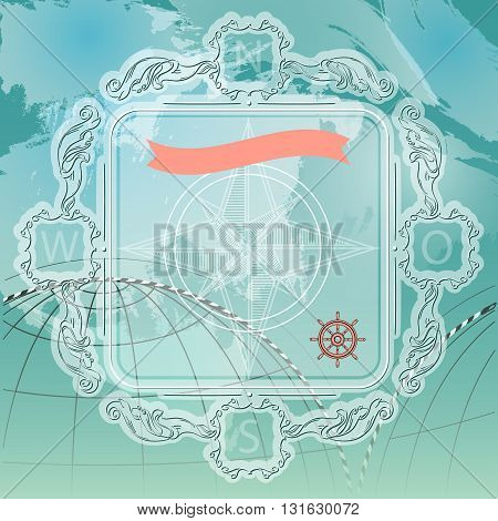 Vector illustration with floral frame and nautical accessories on blue background.