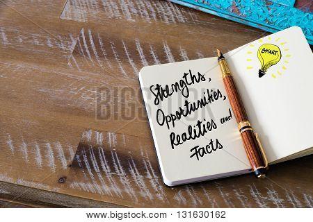 Handwritten Text Strengths, Opportunities, Realities, Facts