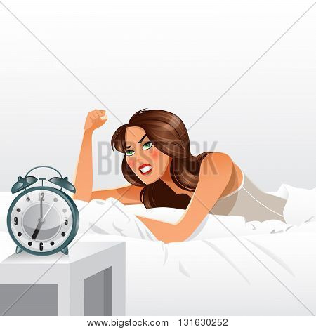 Woman Getting Angry about Waking Up Early.  Vector illustration