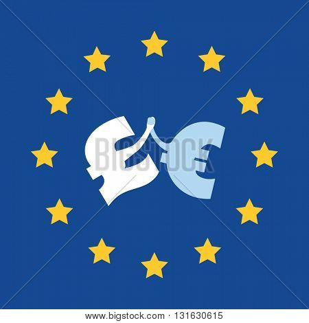Together Is Better - Let UK Stay in EU - Design Template With British Pound And Euro Signs Hand in Hand
