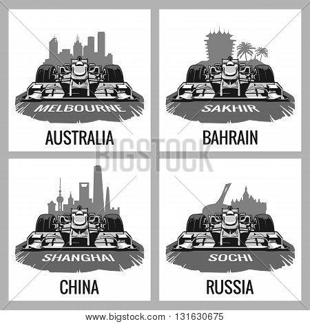 Set vintage poster Grand Prix. Melbourne Australia Sakhir Bahrain Shanghai China Sochi Russia. Vector for poster web.