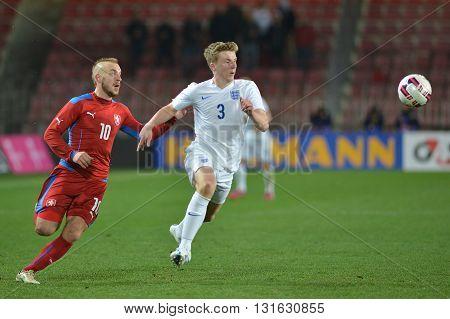 PRAGUE 27/03/2015 _ Jiri Skalak and Matt Targett. Friendly match Czech Reublic U21 - England U21.