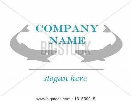 Gray logo fish company - vector illustration.
