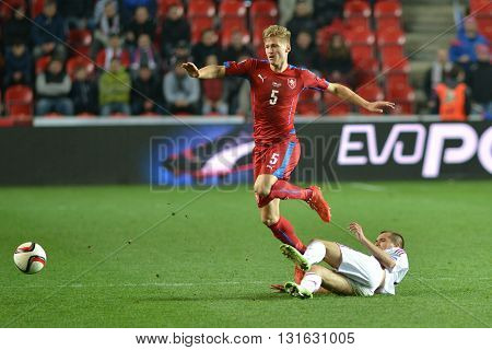 Prague 28.03.2015 _ Vaclav Prochazka and Arturs Zjuzins. Match of the EURO 2016 qualification group A Czech Republic - Latvia 1: 1 (0: 1). Goals 90 'Pilar - 30' Višnakovs.