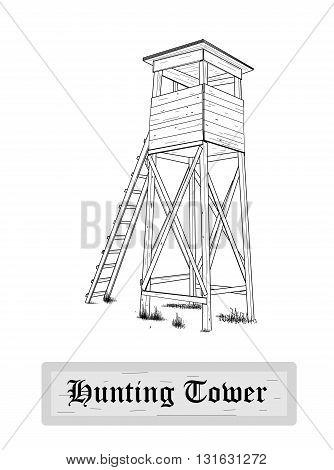 Hunting tower, drawing design - vector illustration.