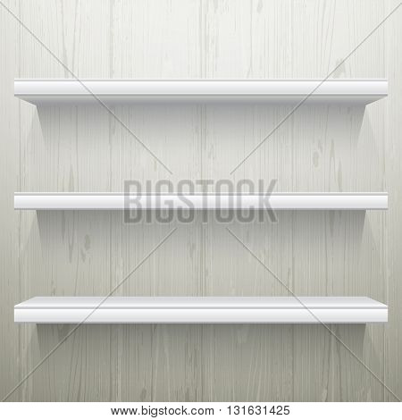 White wood background shelves with light from the top