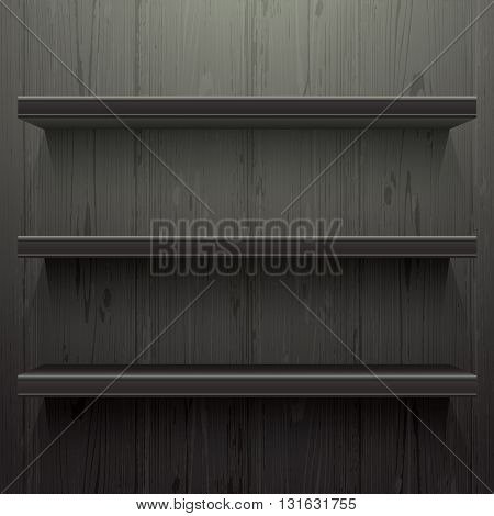 Dark wood background shelves with light from the top
