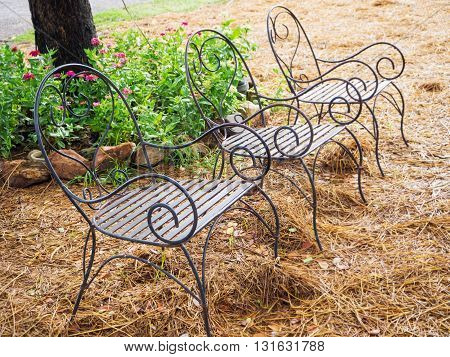 Vintage style of metal chair in the park