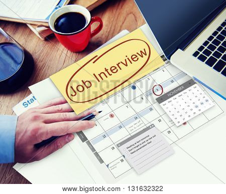 Job Interview Recruitment Human Resources Schedule Concept