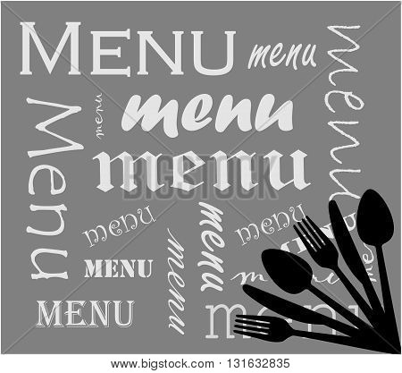 Gray menu cover with words - vector illustration.