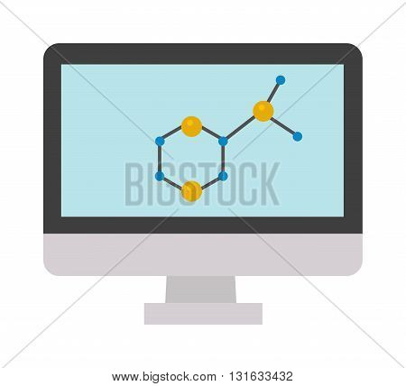Abstract molecular structure in form of sphere. Molecular structure sign and flat vector molecular structure. Molecular structure computer monitor sign and atom chemistry molecular structure.