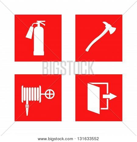Fire equipment signs vector and fire safety sign danger security. Red fire safety sign and hazard evacuation exit fire safety sign. Fire safety sign precaution extinguish pressure foam.