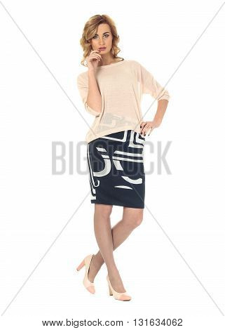 Full Length Portrait Of Women In Skirt Isolated
