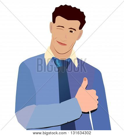 businessman in blue shirt smiling thumbs up wink