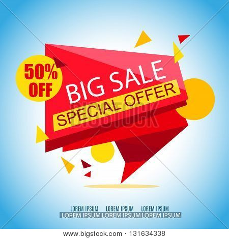 Sale Banner Design. Sale Vector Tag for Promotional brochure poster advertising shopping flyer discountbanner.