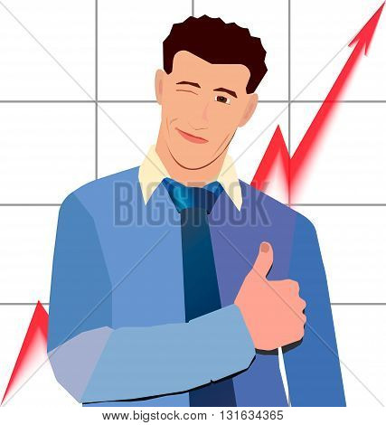 businessman winks thumbs up with red graph up behind