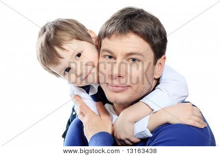 Happy father with his son. Isolated over white background.