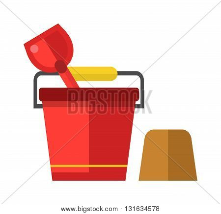 Toy bucket and spade isolated. Child bucket and spade with sand vector icon isolated, kid toys tools symbol, pail shovel label, child bucket and spade modern design, sandbox place sign child bucket.