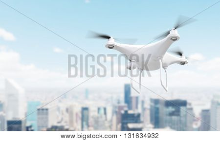 White drone over blurry Singapore city. 3D Rendering
