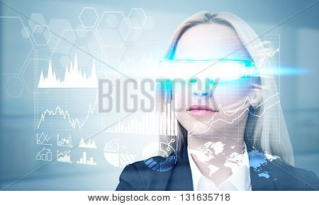Fund manager in illuminated smart glass managing stocks on light grey background background