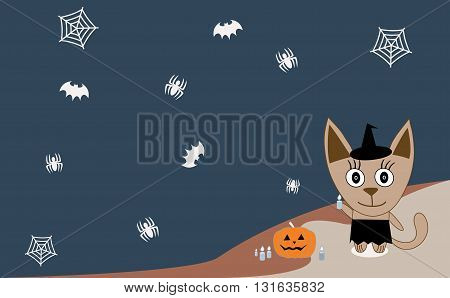 Illustration cat celebrates Halloween on a blue background - Vector