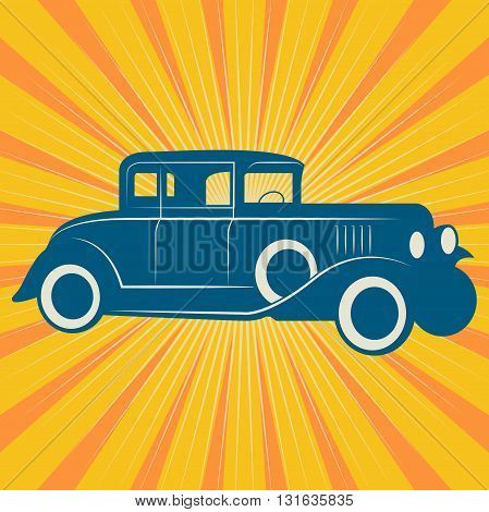 Vintage retro car on yellow background, vector illustration