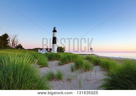 Big Sable Point Lighthouse in Ludington State Park. Although the sunset only provided a slight hue on the horizon the verdant beach provided a wonderful foreground.
