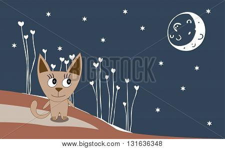 Illustration Of A Cat On A Moonlit Night - Vector