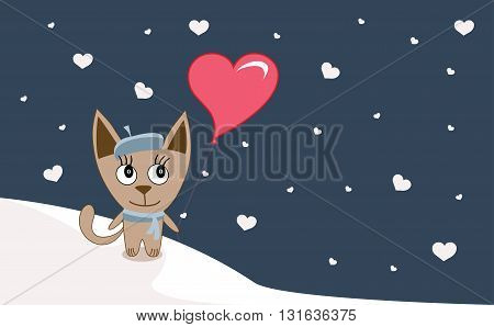 Illustrations Funny Kitten With Heart- Balloon In Winter, Happy Valentine's Day Card - Vector