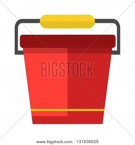 Red bucket of water. Vector illustration water bucket. Fire water bucket extinguish. Bucket of water garden household equipment. Design water bucket garden and appliance water bucket harvest.