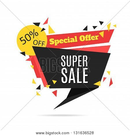 Super Sale and Special Offer paper banner. Sale background. Sale tag.
