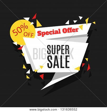 Super Sale and Special Offer polygon banner. Sale background. Vector illustration.