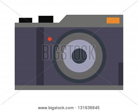 Retro photo camera classic antique design and photography art retro photo camera vector icon. Retro photo camera lens old technology equipment and film focus retro photo camera. Digital style camera.