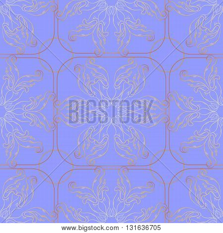 Vector seamless pattern with floral design elements on  blue background.