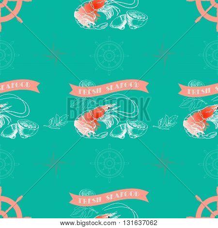Vector seamless pattern with shrimp, lemon,  words Fresh Seafood on  aquamarine background.