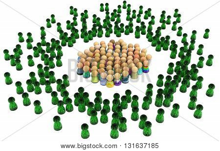 Crowd of small symbolic figures virtual characters 3d illustration isolated horizontal