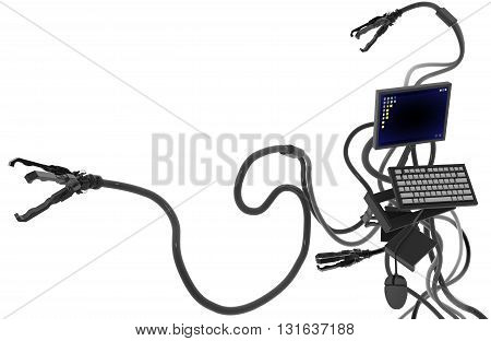 Computer robot electronics technology abstract isolated 3d illustration