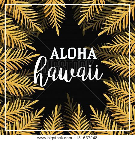 Gold Palm leaves background. Seamless Summer Background. Aloha Hawaii. Tropic palm. Palm leaf. Summer gold tropic palm. Gold Square frame. Vector Illustration.