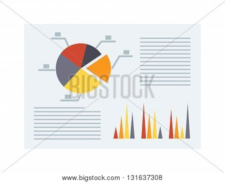 Financial accounting, business report vector. Business report financial chart and business report graph analysis plan. Business report corporate market and business report management diagram.