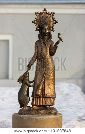 Kostroma, Russia - March 20, 2016: Bronze sculpture of Snow Maiden (Santa`s granddaughter) on Susanin`s square