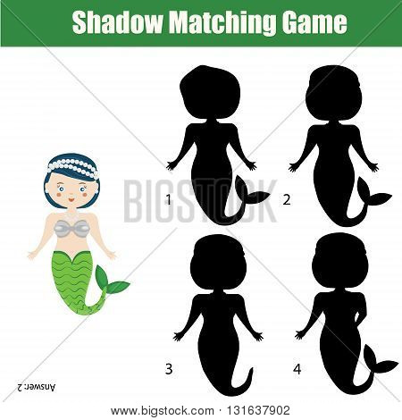 Shadow matching game for children. Find the correct shadow task for kids preschool and school age