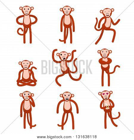 Emotions Full height figures monkeys. Vector illustration