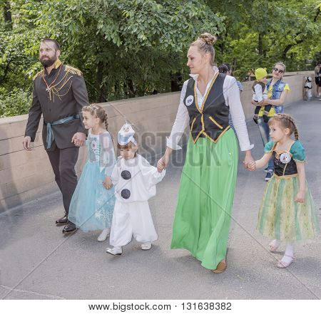 Rostov-on-Don Russia- May 222016: Children and parents walk in carnival costumes