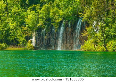 Beautiful landscape, clear green water in the Plitvice Lakes National Park in Croatia