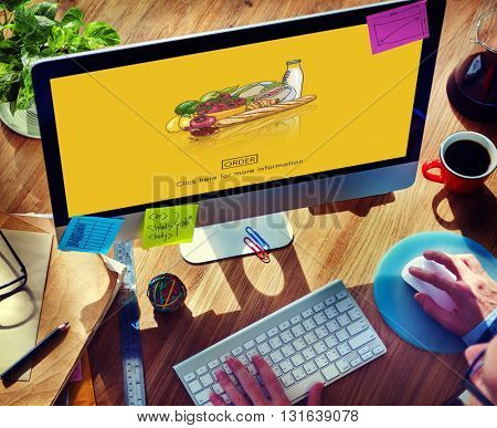 Food Products Order Online Delivery Concept