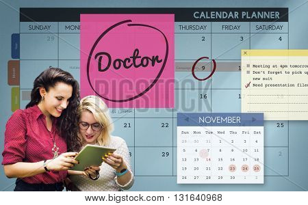 Doctor Medical Healthcare and Medicine Maintenance Schedule Concept