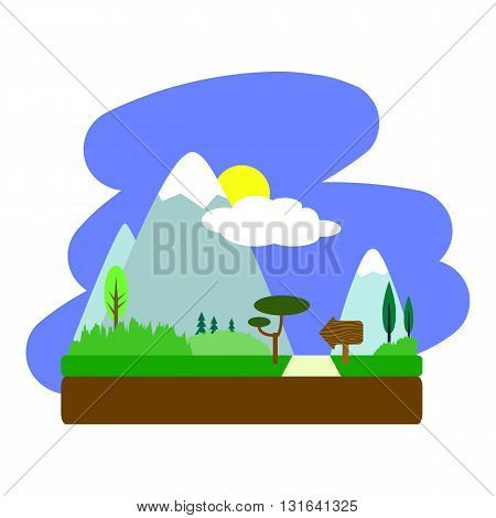 Summer landscape with road in flat style square vector illustration summer holidays in countryside
